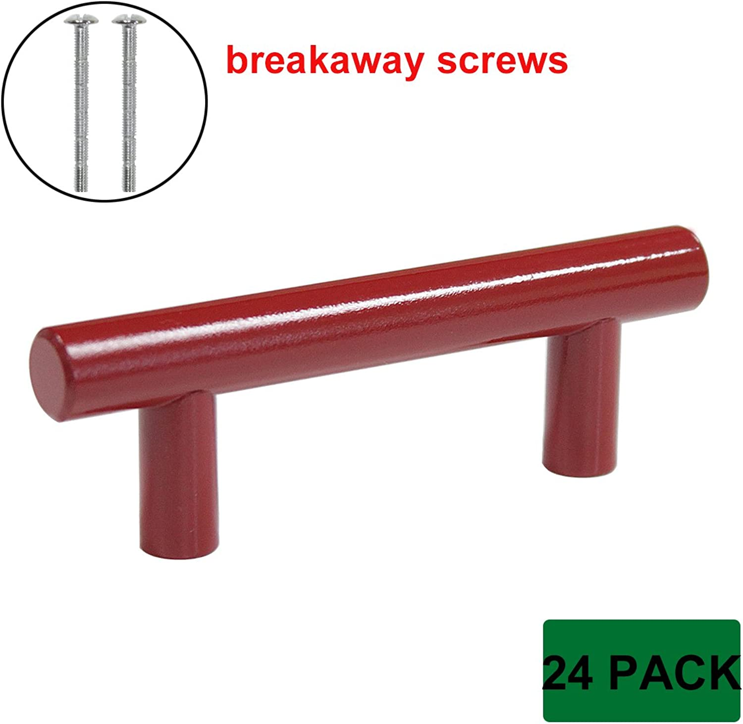 Probrico Modern Cabinet Hardware Handle Pull Kitchen Cabinet T Bar Knobs and Pull Handles Red - 2-1 2  Hole Spacing - 24 Pack - Breakaway Screws Included