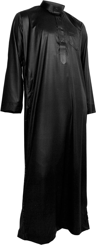 Hijaz Black Formal Fitted Men's Thobe Dishdasha Polished Cotton Luxury Arab Robe - 62