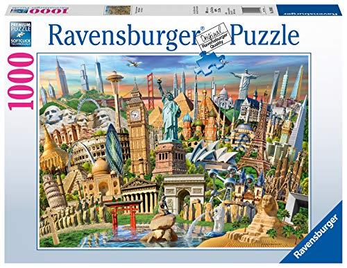 Ravensburger Puzzle 19890 - Sehenswürdigkeiten weltweit - 1000 Teile Puzzle für Erwachsene und Kinder ab 14 Jahren, Motiv mit Big Ben, Freiheitsstatue und mehr