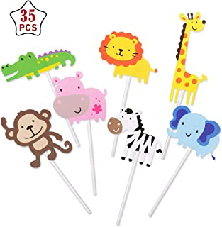 GWHOLE Pack of 35 Jungle Safari Animal Cupcake Toppers Picks for Kids Birthday Baby Shower Party