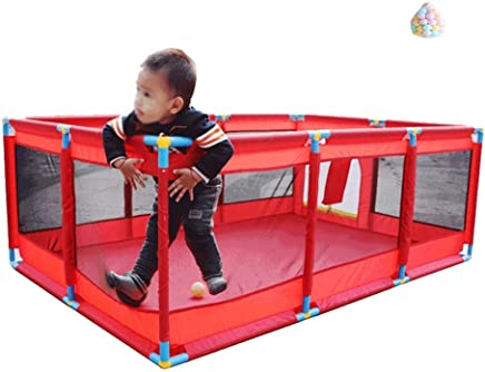 YEHL Playpen Baby Play Yard Large 10-Panel Children s Game Fence Kids Indoor Activity Center with 200 Balls  Color RED