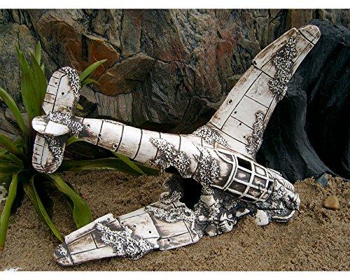 ZooPaul Deko Aquarium Flugzeug Höhle Fisch Keramik Dekoration Messerschmit Wrack Flieger