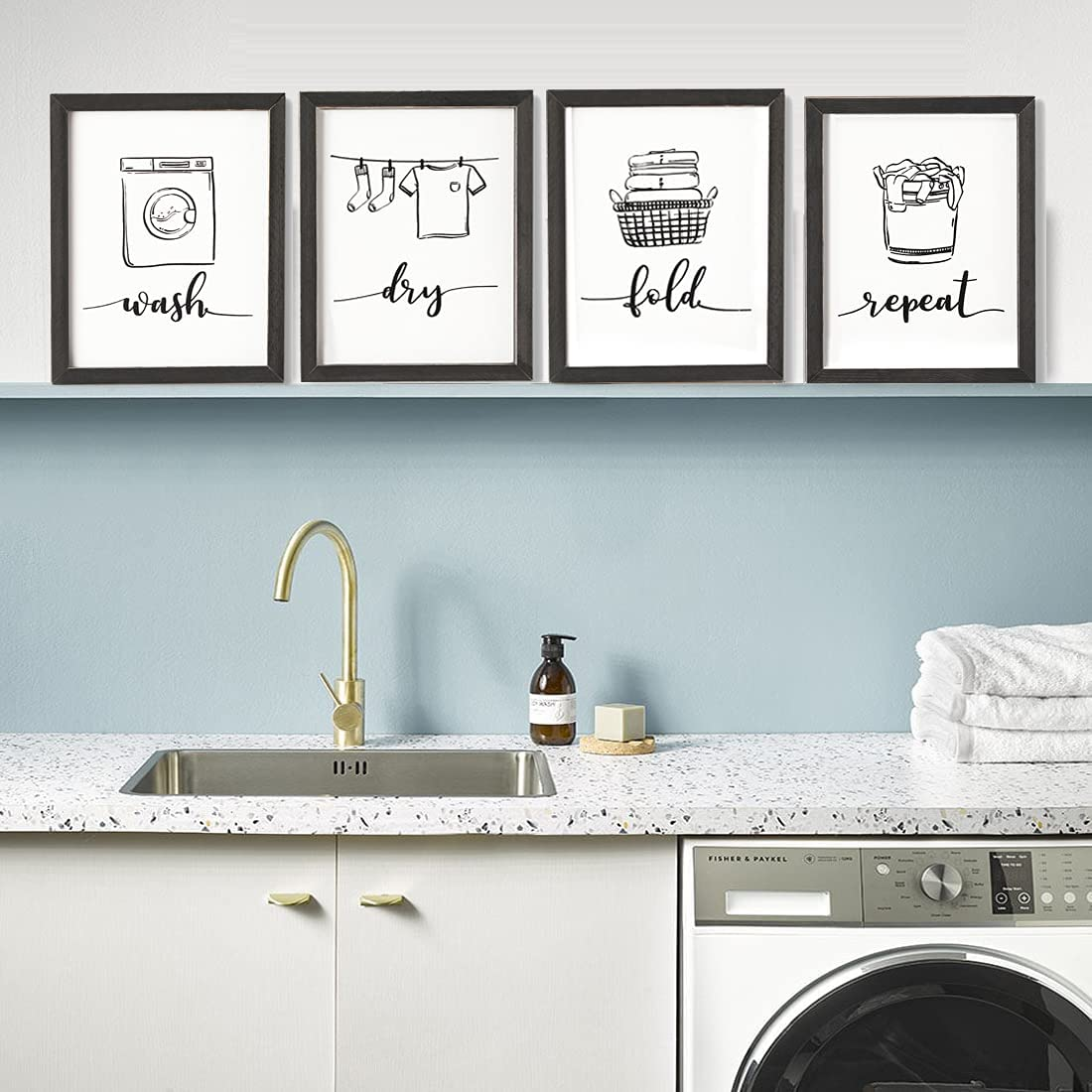 Mokof Laundry Room Decor Wash Fold Dry Repeat Mini Signs Set of 20,  Farmhouse Laundry Room Decorative Sign Framed wood Wall Art, Laundry Shelf  Decor, ...