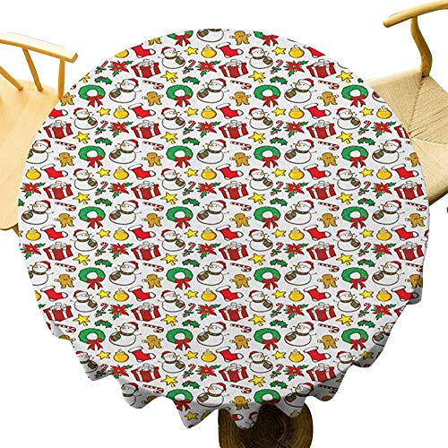 Christmas Tablecloth - 70 Inch Celebration Round Tablecloth Cartoon Design Snowman Star Fireplace Socks Red Poinsettia Flower Ornaments Print Single-Sided Printing Multicolor