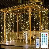 Lichterkette Vorhang Lichtervorhang dimmbar, 3X3M 300 LED Lichterkettenvorhang mit Fernbedienung, USB Lichterkette mit Timer Funktion für Zimmer Fenster und Außen Deko, 8 Lichtmodi