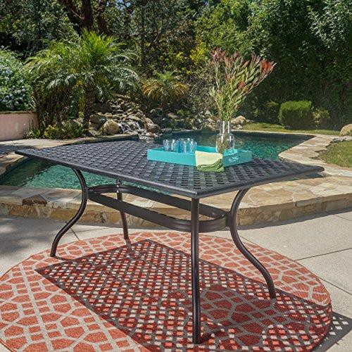 GDF Studio Taylor Black Sand Cast Aluminum Rectangle Table
