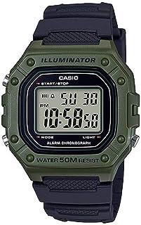 ساعة كاسيو رقمية مستطيلة الشكل للرجال - W-218H-3AVEF