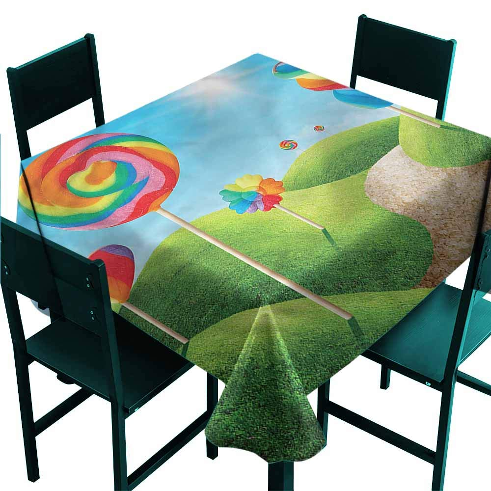 Doneeckl Waterproof Tablecloth Fantasy Candy Land Lollipops Table Decoration W63 Xl63 Amazon Co Uk Kitchen Home