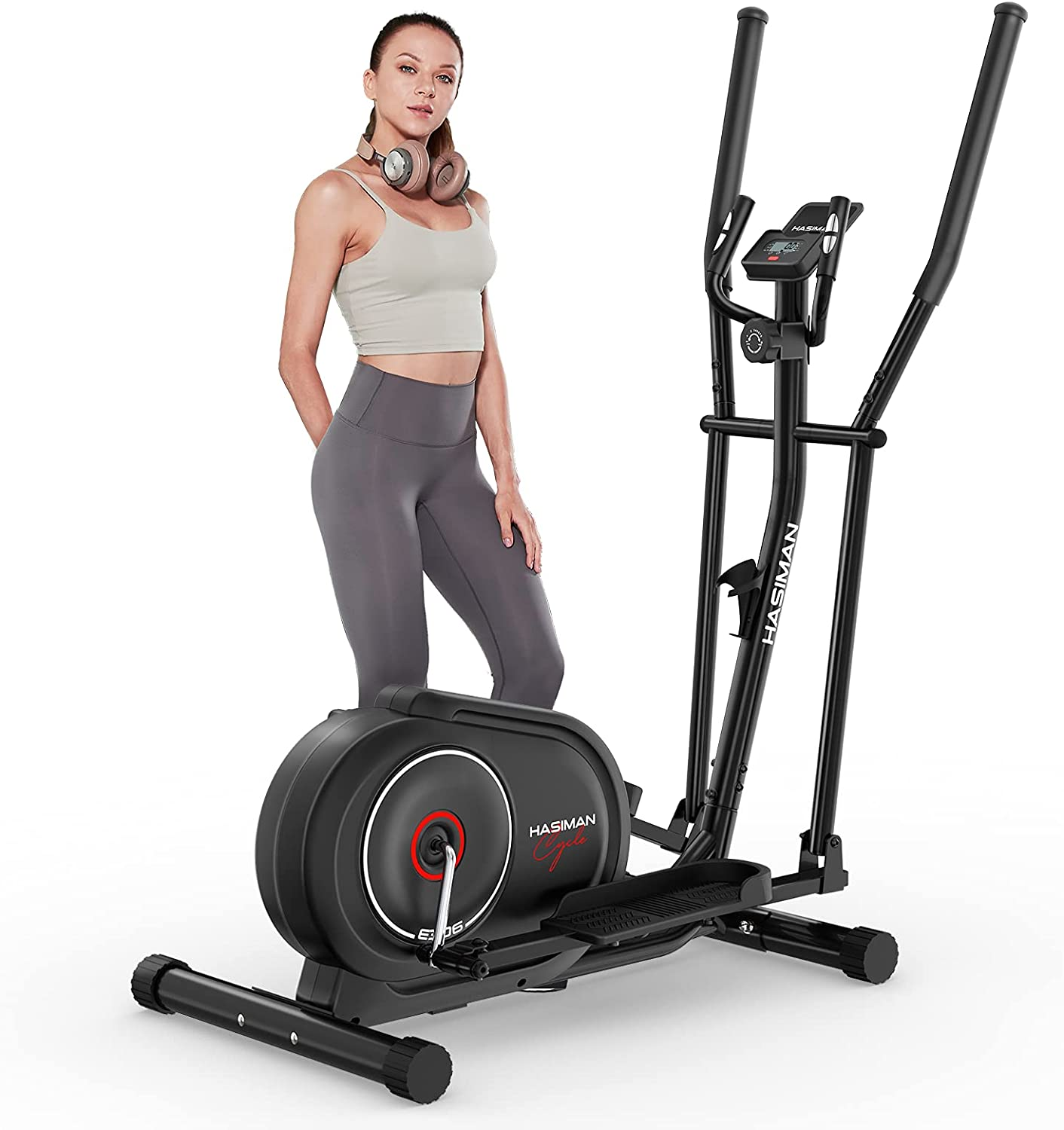 HASIMAN Elliptical Machine for Home Use Cross Trainer with Hyper-Silent Magnetic Driving System with 8 Levels Adjustable Resistance LCD Monitor and Pulse Sensor