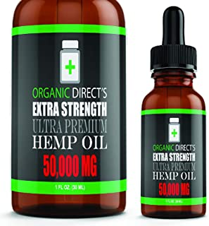 Hemp Oil (2 Pack :: 50,000mg Each) Pain Relief Anxiety Relief Sleep Support :: Organic - Hemp Extract Supplement