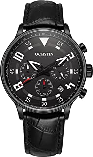 OCHSTIN New Fashion Luxury Genuine Leather Luminous Men Watch Calendar Quartz Analog Man Casual Wristwatch 30M Water-Resis...