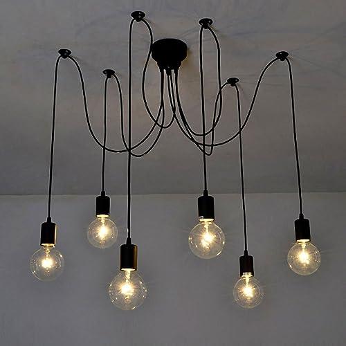 Lixa-da Luz Lámpara del Techo Candelabro Iluminación Retra Antigua Colgante Clásica Ajustable DIY con 6 Brazos de Ara...
