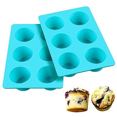 SJ European LFGB Silicone Jumbo Muffin Pan, 6 C...
