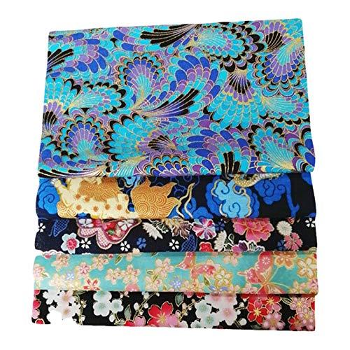 5 STÜCKE Reiner Baumwollstoff, Handgemachtes Patchwork im Japanischen Stil, DIY Bronzing Patchwork, Pure Cotton Small Floral Handgemachte DIY Baumwollstoff für DIY Nähen, 50x50cm