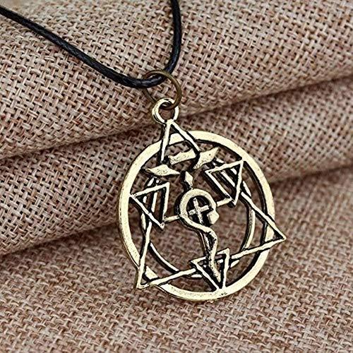 Yiffshunl Collar de Mujer Collar 1 Piezas Cadena de alquimista de Metal Completo ala de dragón T con Collares Cruzados Collar de Estilo Punk Juguetes Cruzados