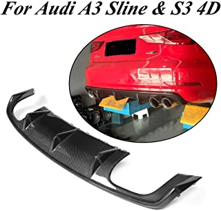 JC SPORTLINE fits A3 Sline S3 4D CF Diffuser, fits Audi A3 S line S3 Sedan 2013-2016 Carbon Fiber Rear Lower Lip Bumper Cover Spoiler