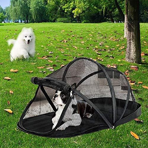 Ducomi hondenhoed, draagbaar, opvouwbaar, voor kleine honden, met zachte en warme bekleding, voor reizen, vervoer van huisdieren en woonkamer, voordeur met ritssluiting