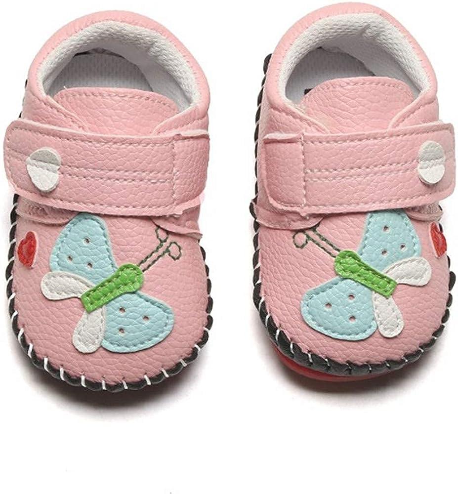 BiBeGoi Infant Baby Boys Girls Cartoon Walking Sneaker PU Leather Rubber Sole Toddler Hard Bottom First Walker Slippers Crib Shoes(Butterfly Pink,1)
