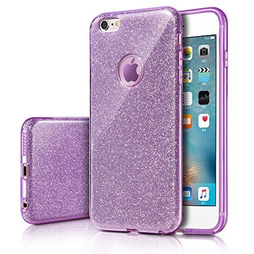 MILPROX Cover iPhone 6, iPhone 6s Glitter Shiny Bling Slim Crystal Clear TPU Bling Glitter Paper Frosted PC Shell Protettiva Custodia per iPhone 6/6s - Porpora