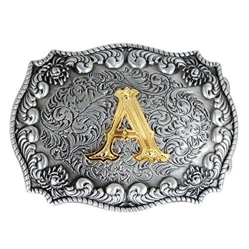 Bai You Mei Estilo occidental vaquero de oro letras iniciales hebilla de cinturón para los hombres A