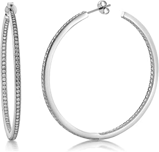 925 Sterling Silver Inside Out Hoop Earrings Women's Pave Round White Cubic Zirconia CZ (1.50 Cttw, 2.00 Inch = 52MM)