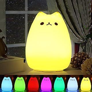 Veilleuse LED , omitium LED Chat Veilleuse Silicone Veilleuse de Bébé Portable Enfant Veilleuse avec 7 Couleurs de Nuit La...