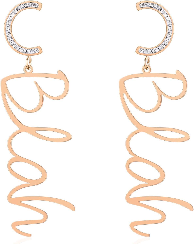 Jertom 14K Rose Gold Letter Drop Dangle Earrings, Alphabet Dangling Long Earrings for Women Girls, Stainless Steel Fashion Jewelry