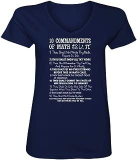 10 Commandments of Math V Neck, T Shirts for Women