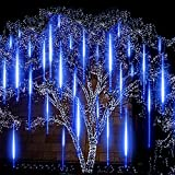EAGWELL Blue Meteor Lights, Upgrade 20 inches 10 Tube 540 LED Meteor Shower Rain Lights Waterproof Cascading Lights Falling Rain Lights for Holiday Party Wedding Christmas Tree