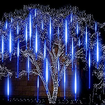 Blue Meteor Lights EAGWELL Upgrade 20 inches 10 Tube 540 LED Meteor Shower Rain Lights Waterproof Cascading Lights Falling Rain Lights for Holiday Party Wedding Christmas Tree