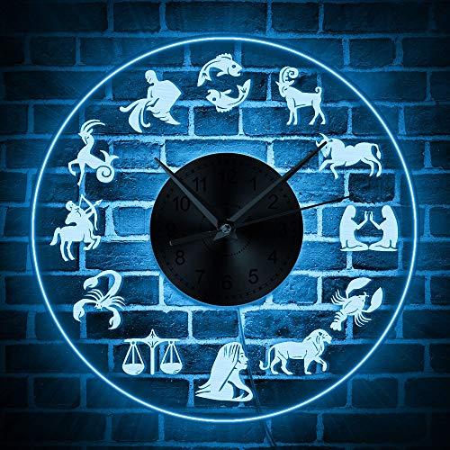 ZOBONI Wandklok 12 symbolen Transparant 3D Wandklok Astrologie sterrenbeeld decoratieve kunst ronde vorm 12