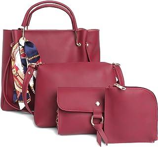 Fostelo Women's Sherine Collection PU Leather Handbag Combo (Set Of 4) (Maroon)