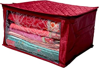 Kuber Industries™ Saree Cover Extra Large Size in Maroon Quilted Satin (with Capacity of Upto 15 Sarees)