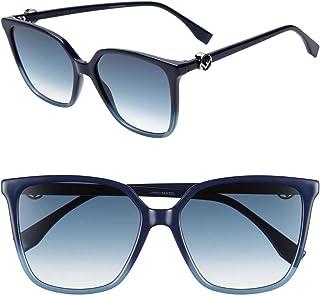 فيندي FF 0318/S PJP08 نظارة شمسية اطار أزرق عدسات متدرجة 57 ملم