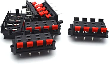 Antrader 6Pcs/Lot Spring Loaded Speaker Terminals 2 Row 8 Position Push Release Connector Plate Stereo Speaker Terminal Strip Block