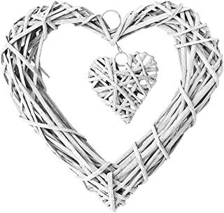 Gris osier rotin Hanging Heart Couronne 25 cm Rustique Shabby Chic