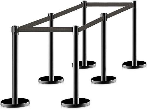 Killer's Instinct Outdoors Cypressshop Crowd Control Barrier Stanchions Barrier Poles Posts Queuing Pole Retractable Black Belt Set of 6 Pieces (3 Set)