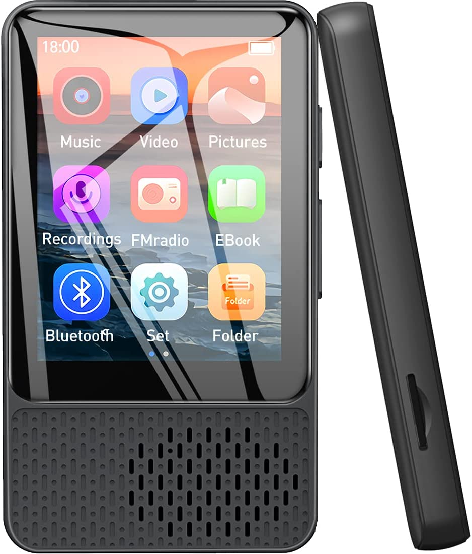 """32GB MP3 Players Bluetooth 5.0, Portable 2.4"""" Full Touch Screen HiFi Lossless Music Mp4 Player with Speaker, FM Radio, Recording, Pedometer, Video..."""