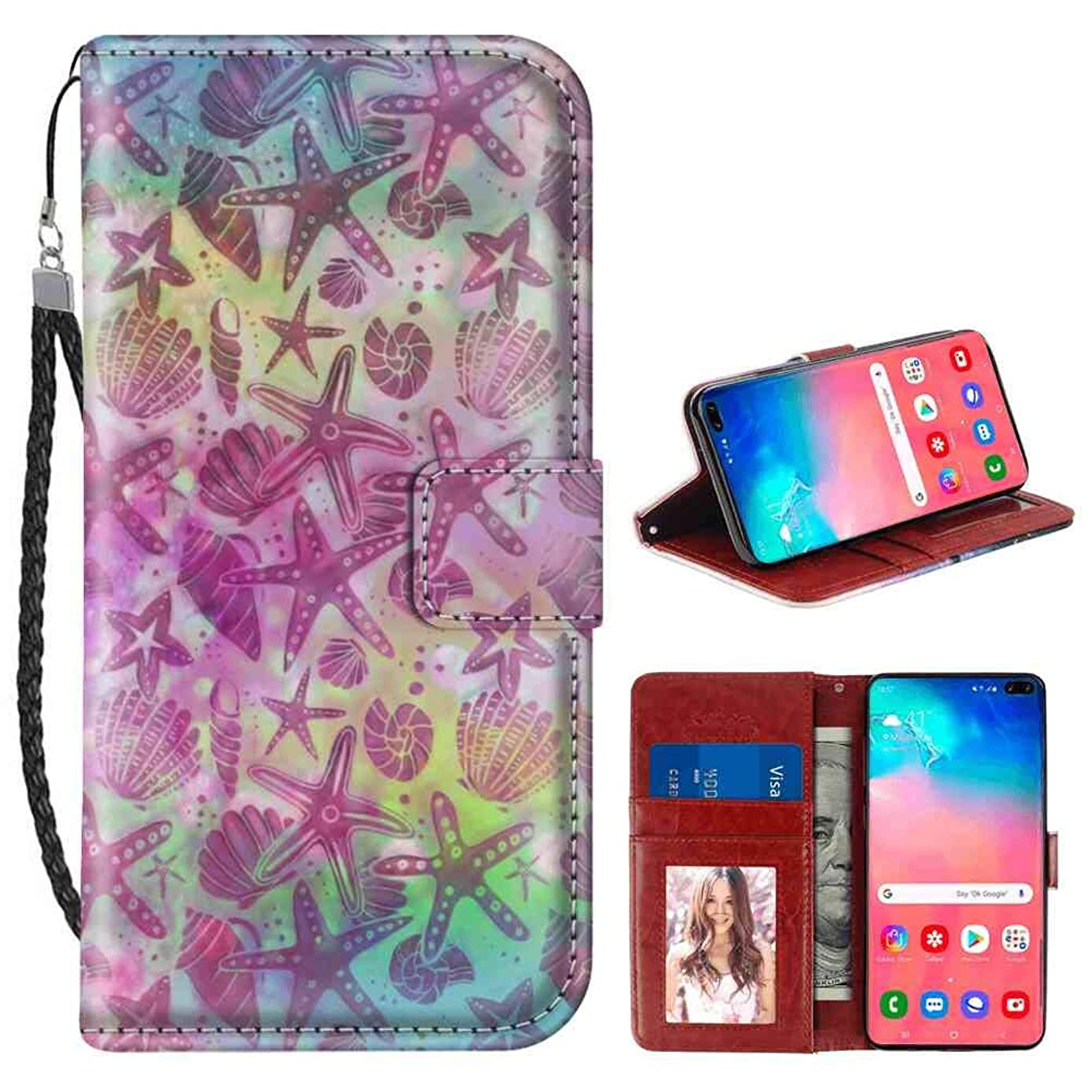Wallet Case Fit Galaxy S10 Plus (2019) 6.4 Inch Colorful Sea Shells and Starfish Flap