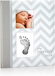 Pearhead First 5 Years Chevron Baby Memory Book with Clean-Touch Baby Safe Ink Pad to Make Baby�s Hand or Footprint Included, Gray, Gray Chevron