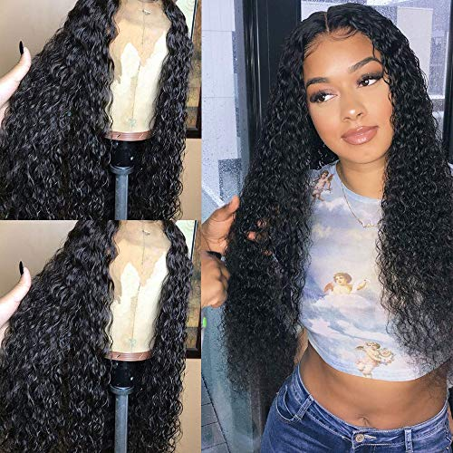 Evlynn Hair Curly Wigs Lace Front Wigs Wet and Wavy Synthetic Black Loose Curly Wigs Heavy Density Glueless Lace Wigs for Women Synthetic Wigs(24' Black Curly wavy Lace Front Wig)