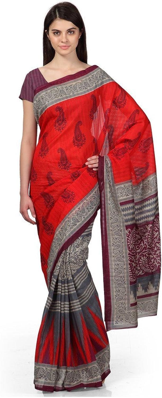 Indian Sareez red Ikkat inspired Bhagalpuri silk printed saree