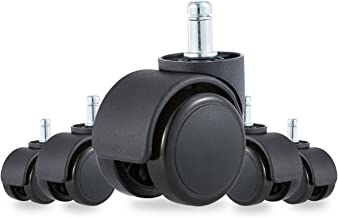Heavy Duty 2 Inch Office Chair Caster Wheels Replacement Floor Protecting Smooth Rolling Computer Gaming Universal Standard Size Set of 5 (Black)