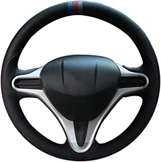 XuJi Hand Sewing Black Holes Genuine Leather Red and Blue Thread Steering Wheel Cover for Honda Fit