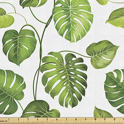 Lunarable Leaf Fabric by The Yard, Tropical Jungle Rainforest Leaves Palm Mango Tree Wild Leaves Art Print, Decorative Fabric for Upholstery and Home Accents, 3 Yards, Green White