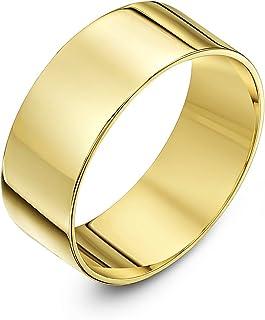 Theia 中性款9克拉黄金厚平底形状抛光结婚戒指