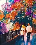 Pintura Al Óleo Pareja Caminando Pintura Al Óleo Digital Set Romántico Diy Patrón Pintura Al Óleo Pintura Hogar Decoración De La Pared Arte Regalo Lienzo Niños Magia,30x40cmmarco