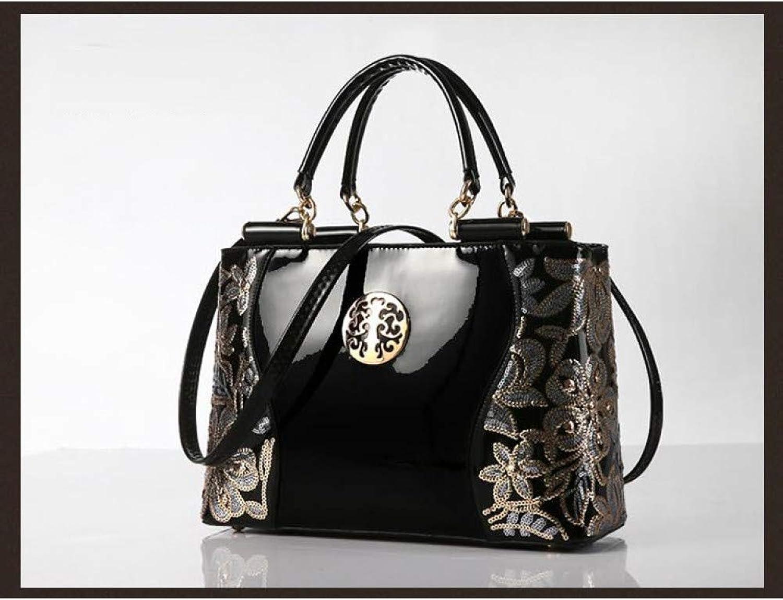 JQSM Large Capacity Women Handbag Fashion Classic Party Business Messenger Bags Black Leather Evening Bag Ladies Shoulder Totes