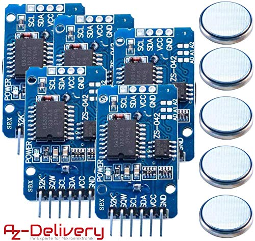 AZDelivery 5x Real Time Clock RTC DS3231 I2C per Arduino, Raspberry Pi e Microcontroller (con AT24C32)