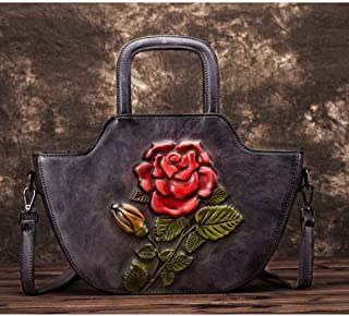 Bag for Women Fashion Vintage Leather Handbags Hand-Brushed Carved Diagonal Cross-Shell Shell Type Flower Single Shoulder Suede Leather Handbag 26 (Long) * 24 (high) * 10 (Thick) cm (Color : Gray)